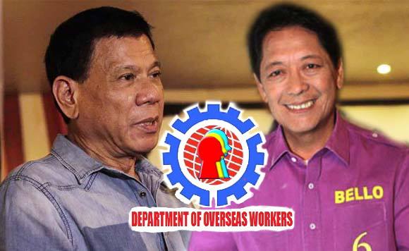 Image of Department of OFW, Duterte promises separate department for OFWs, Creating OFW department 'goes against' Duterte admin goals, Bello, The proposal to create a department focused on OFWs