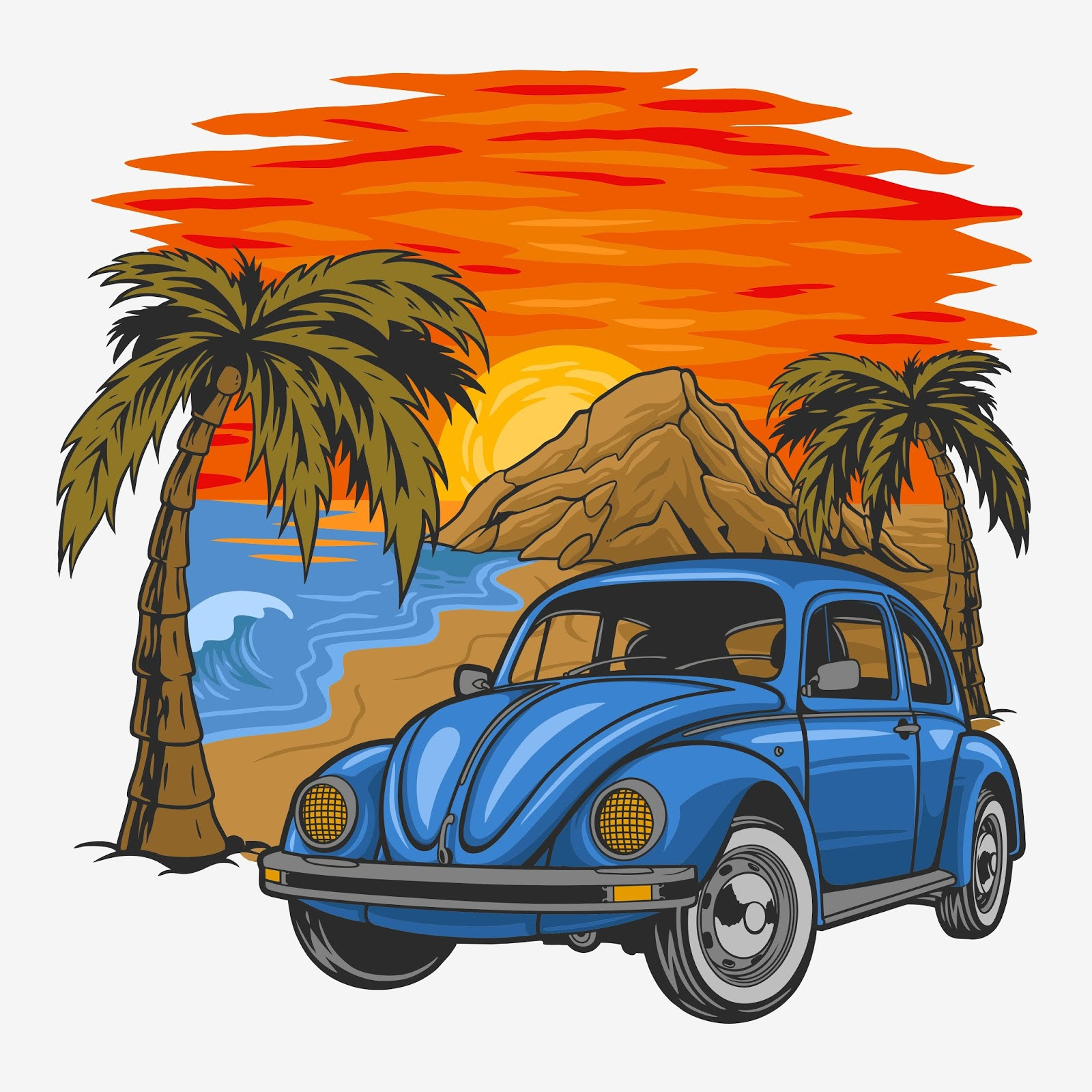 Holiday Vintage Car With Sunset In The Beach Free Download Vector CDR, AI, EPS and PNG Formats
