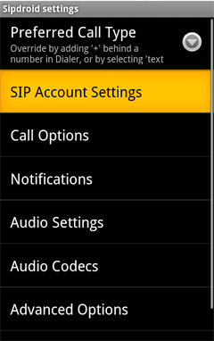 Start the app and choose SIP Account Settings to enter your credentials.