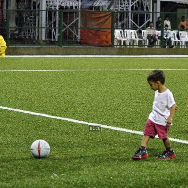 Azaad Khan clicked playing soccer during a charity match organised by Aamir's daughter Ira Khan, at Cooperage ground, on July 20, 2014.(Pic: Viral Bhayani)
