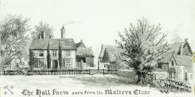 """The Hall Farm seen from the Maltern Close."" From A Record of Shelford Parva by Fanny Wale P19"