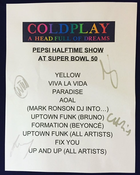 coldplay setlist superbowl