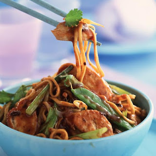 Stir Fried Chicken and Noodles with Black Bean Sauce.