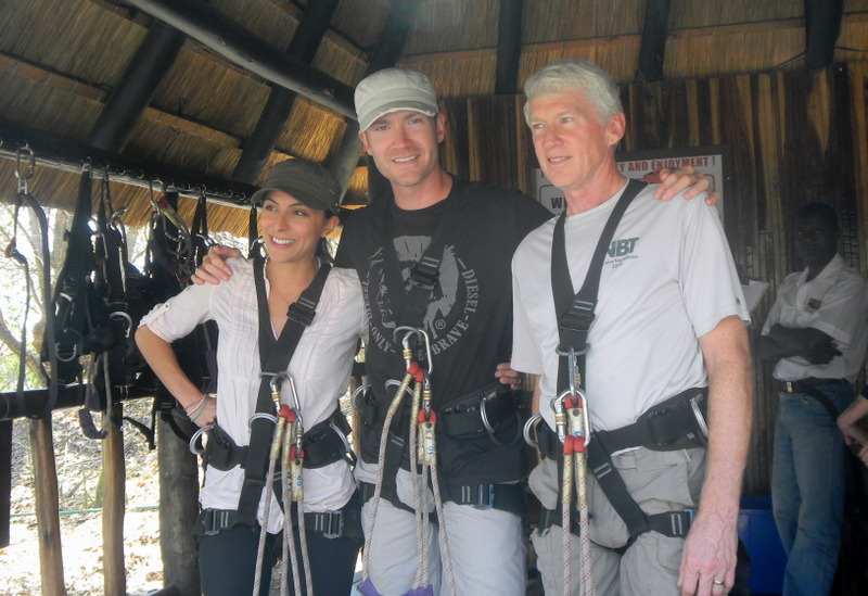 Getting ready to zip line, swing and bungee jump
