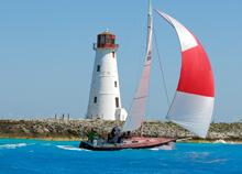 J/105 sailing past Nassau Harbor Lighthouse