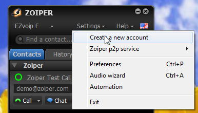Zoiper: Create a new account
