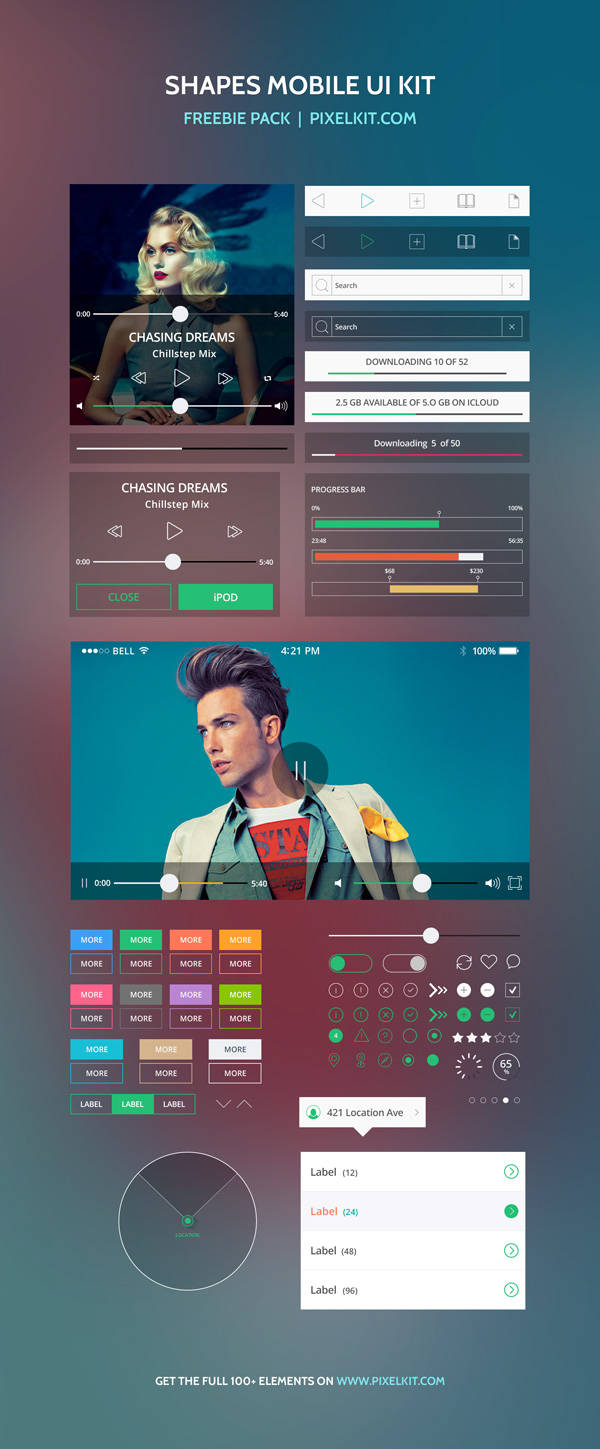 Free Shapes Mobile UI Kit PSD