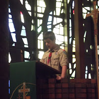 Matthew reading about Scout Sunday