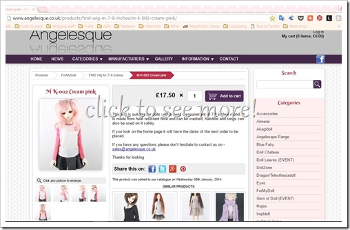 For My Doll K-002 Cream Pink Bjd Wig