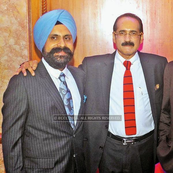 Harinder Singh (L) and Sanjay Sachdeva at an event, held in a Delhi hotel.