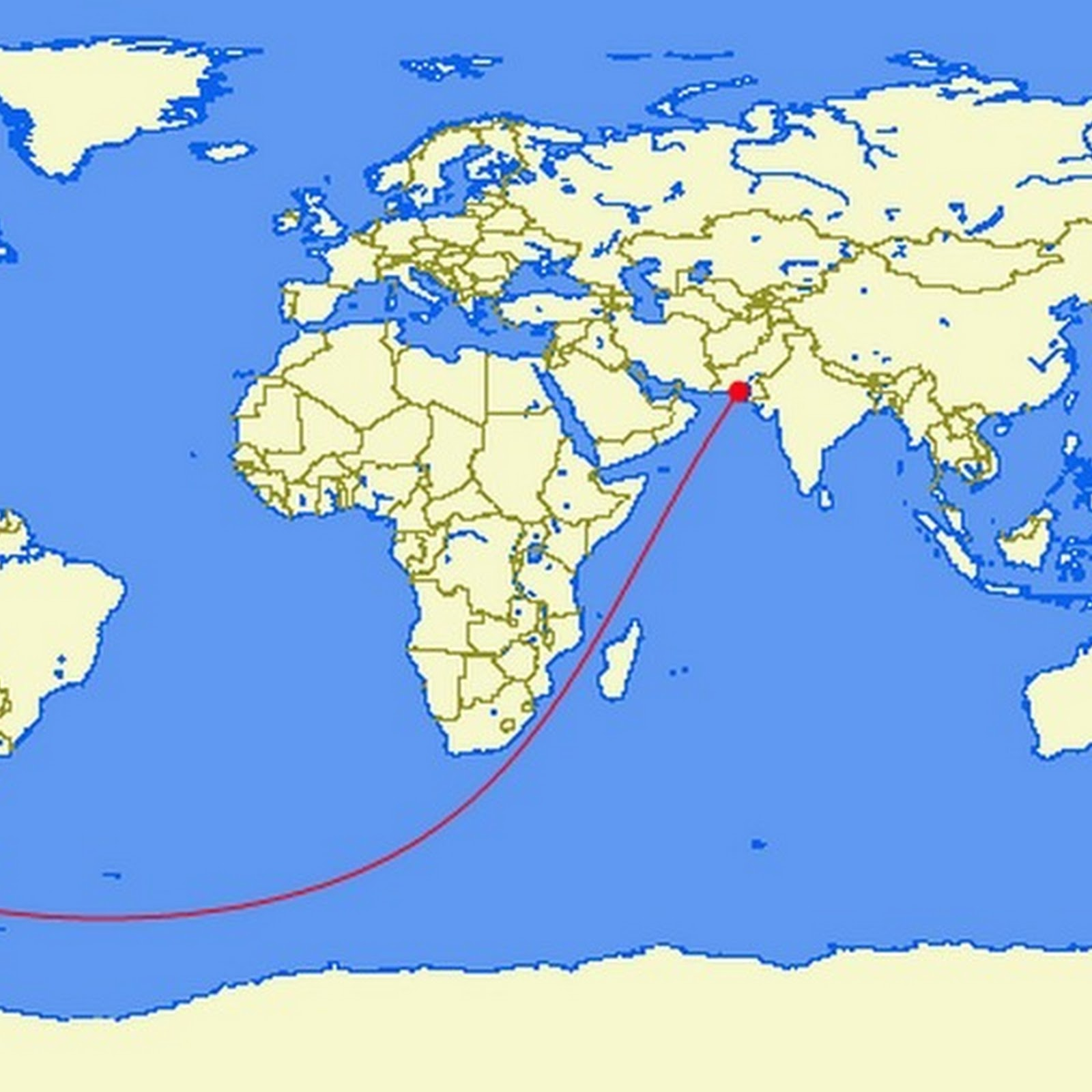 The Longest Straight Line Land And Sea Route