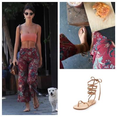 Emily Ratajkowski in Cornetti Elia Ankle Wrap Lace Up Sandals