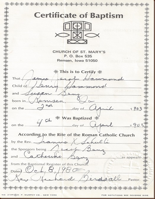 Hammond James Baptism