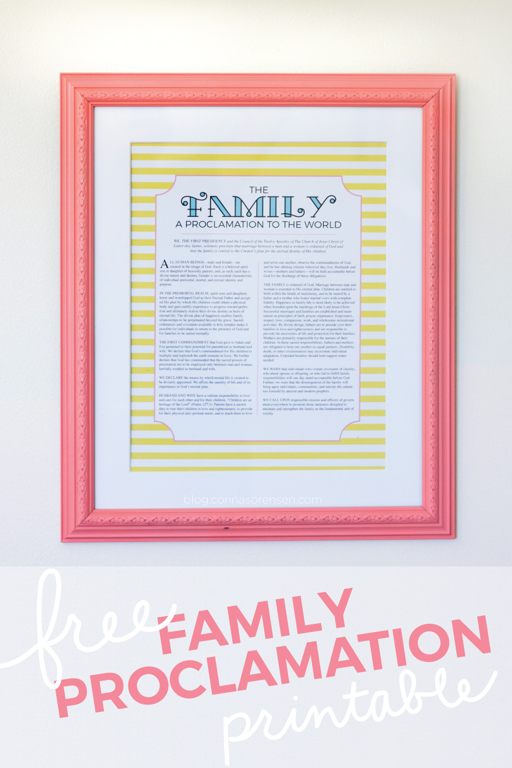 photo regarding The Family a Proclamation to the World Free Printable identified as No cost Family members Proclamation Printable Corinas Corner
