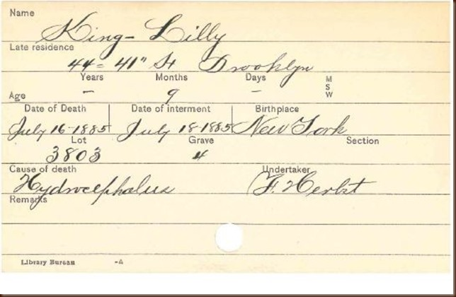 King Lilly 1885 burial record