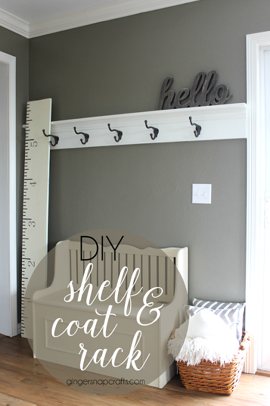 DIY Shelf & Coat Rack at GingerSnapCrafts.com #DIY #shelf