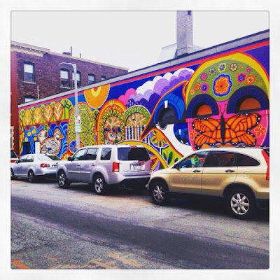 Murals of Boston - Purple Cactus Mayan-Inspired Mural in Purple and other Bright Colors