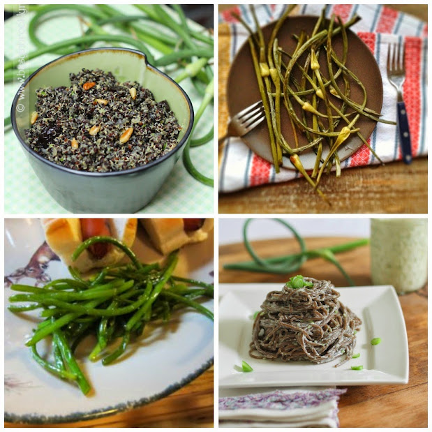 collage of 4 images of side dishes using garlic scapes, part of the garlic scape recipe round up