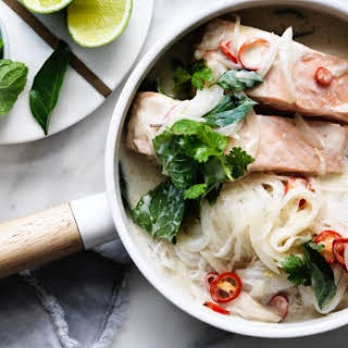 Salmon With Coconut Milk, Glass Noodles And Herbs.