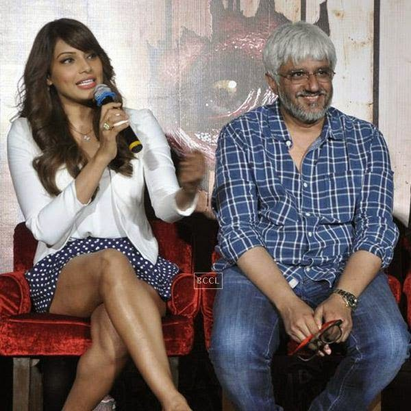Bipasha Basu speaks as Vikram Bhatt looks on during the trailer launch of Bollywood movie Creature 3D, held at PVR, on July 16, 2014.(Pic: Viral Bhayani)