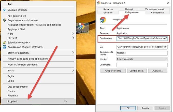 Creare collegamento su desktop per aprire scheda in - Finestra in incognito ...