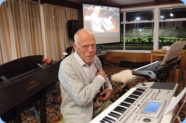 Ron Clingin playing his Korg Pa80. Photo courtesy of Dennis Lyons.