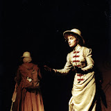 Christine Boice Saplin and Eileen McCashion in ON THE VERGE - January/February 2000.  Property of The Schenectady Civic Players Theater Archive.