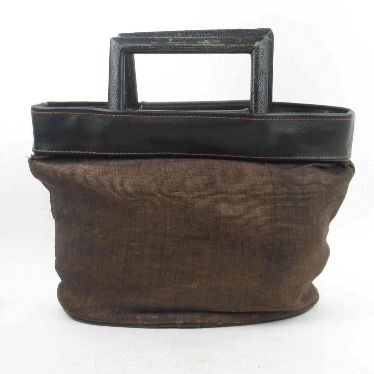R&Y Augousti  Fabric & Shagreen Handbag