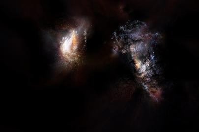ilustração do par de galáxias observadas no Universo primordial