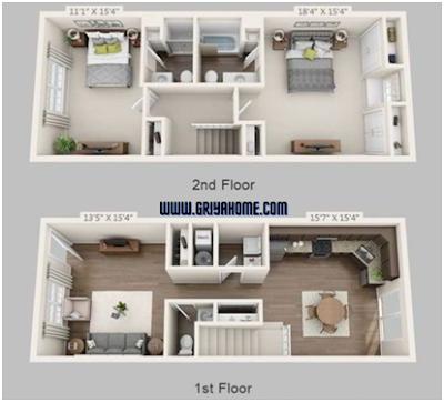 Desain Rumah Minimalis 2 Kamar di Lantai yang Sama.