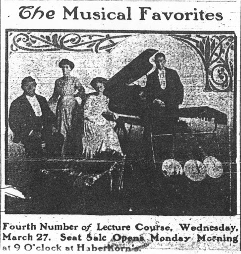 Entertainment at Haberkorn's Music Store March 27, 1912