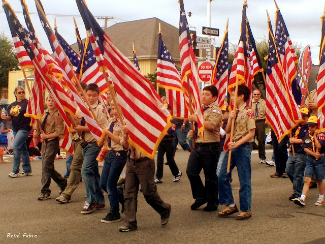 Scouts marching in the Renton River Days Parade, July 28, 2012.
