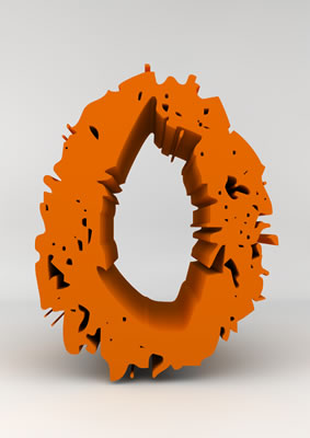 lettre 3D chiffron de craie orange - O - images libres de droit