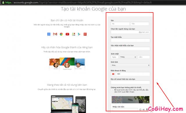 Hướng dẫn đăng ký gmail, lập tài khoản mail gmail 3