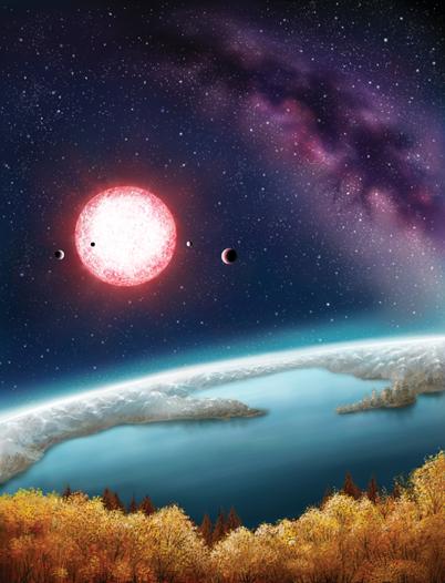 ilustração do exoplaneta Kepler-186f