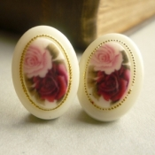 Technicolour pink rose earrings