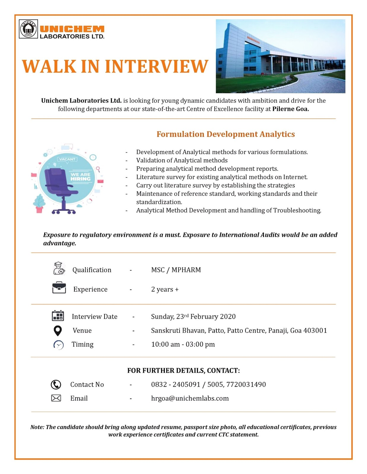 Unichem Laboratories Ltd - Walk in interview for Formulation Development Analytics on 23rd Feb 2020