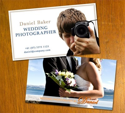 Tarjeta con foto para fotógrafo de bodas.
