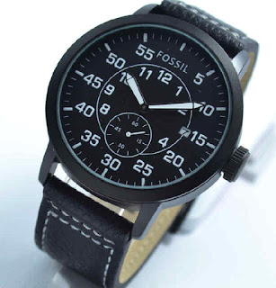 jam tangan  Fossil date chrono second black leather white
