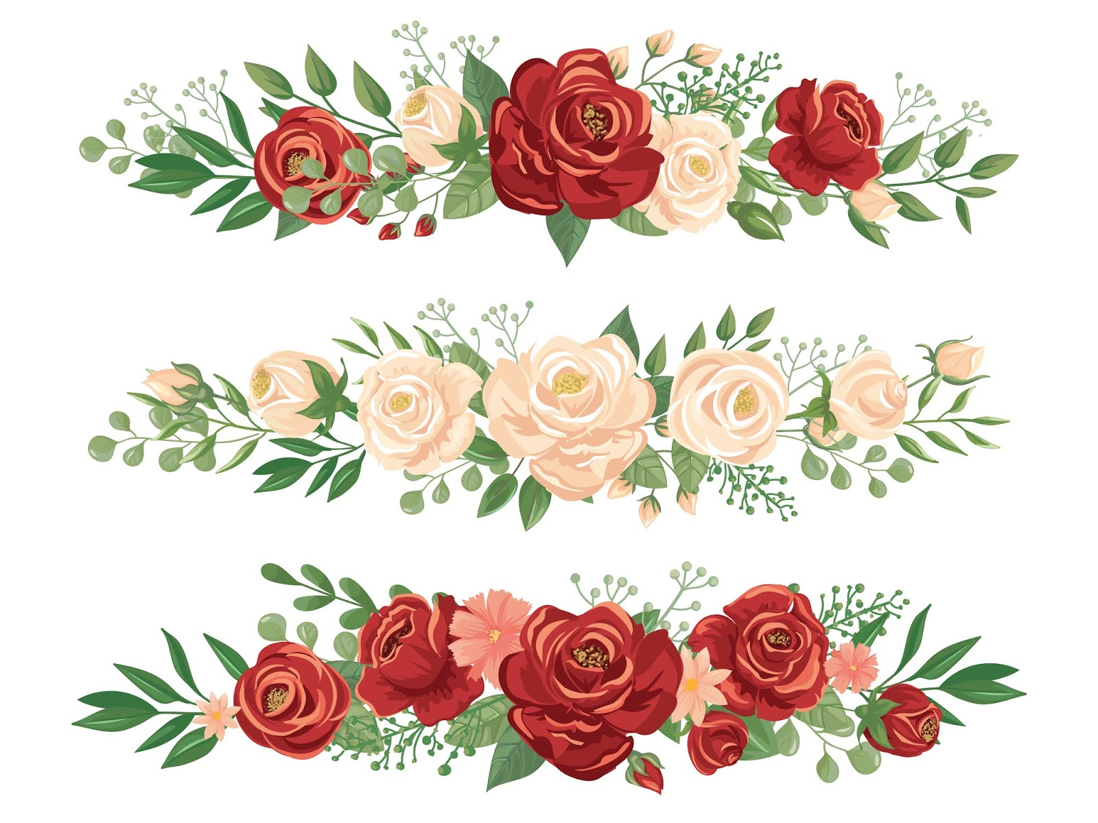 Panoramic Flowers Borders Rose Bud Flower Free Download Vector CDR, AI, EPS and PNG Formats