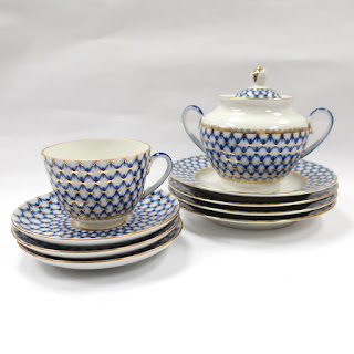 Imperial Porcelain St. Petersburg Cobalt Net Dish Lot