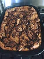 Nutella bread pudding with Ferrero Rocher top