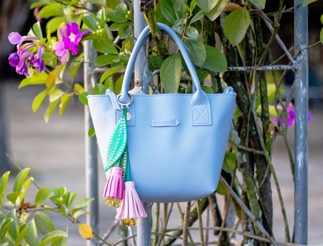 Lyn Around flower bag charm on a Moshi Moshi purse in powder blue | Lavender & Twill