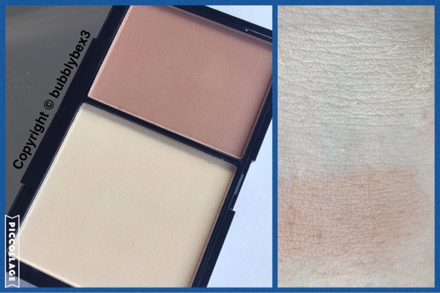 close up and swatches of the freedom makeup contour kit in fair