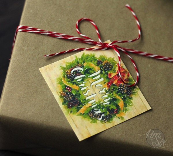 Merry Christmas Gift Tag Brown Paper Package