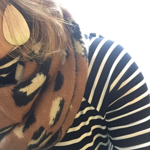 collaboration, leopard scarf, leather earrings