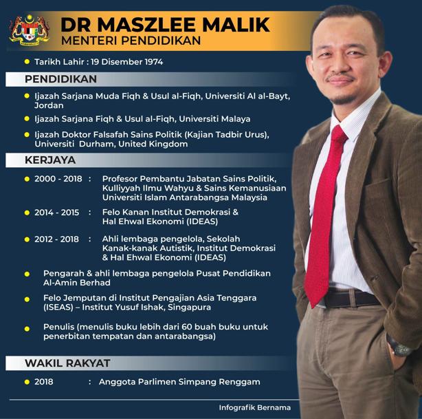 Biodata Menteri Pendidikan Dr Maszlee Malik Inilah Realiti