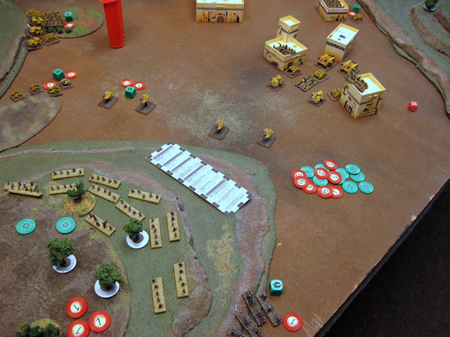 The Land Raiders move up and lay another BM on the Infantry.
