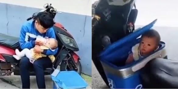 Perjuangan Seorang Ayah, Antarkan Pesanan sambil Bawa Anaknya karena Tak Ada yang Jaga