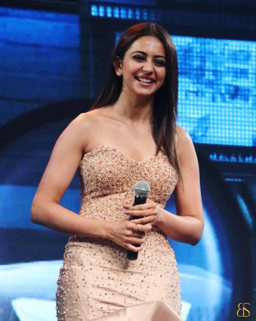 Rakul preet singh latest hot expressions in transparent dress Navel Queens